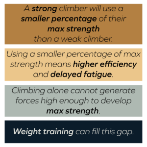 Strength and conditioning makes better climbers